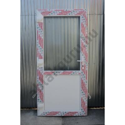 100x210 Műanyag bejárati ajtó öt kamrás profilból - Egy vízszintes osztóval - Csincsilla üveggel - BAL - Befelé nyíló - (Gyártási méret: 98x208)