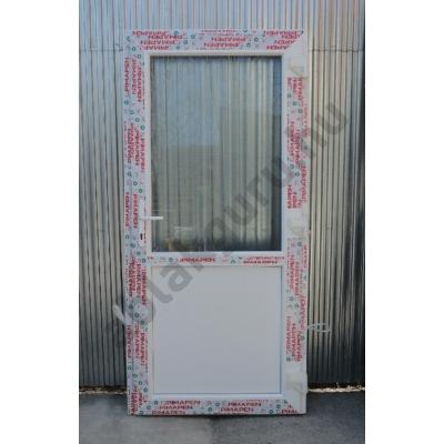 100x210 Műanyag bejárati ajtó öt kamrás profilból - Egy vízszintes osztóval - Csincsilla üveggel - JOBB - Befelé nyíló - (Gyártási méret: 98x208)