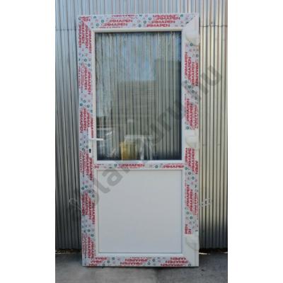 100x210 Műanyag bejárati ajtó öt kamrás profilból - Egy vízszintes osztóval - átlátszó üveggel - JOBB - Befelé nyíló - (Gyártási méret: 98x208)