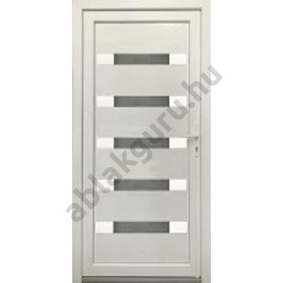 100x210 Műanyag bejárati ajtó öt kamrás profilból - Hídas alurátéttel - BAL - KIFELÉ NYÍLÓ - (Gyártási méret: 98x208)