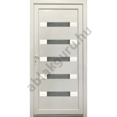 100x210 Műanyag bejárati ajtó öt kamrás profilból - Hídas alurátéttel - JOBB - KIFELÉ NYÍLÓ - (Gyártási méret: 98x208)