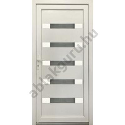 100x210 Műanyag bejárati ajtó öt kamrás profilból - Hídas alurátéttel - JOBB - Befelé nyíló - (Gyártási méret: 98x208)