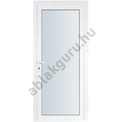 100x210 Műanyag bejárati ajtó öt kamrás ALUPLAST profilból - Teli üveges - 4-16-4 Ug=1,1 üveggel - JOBB - Befelé nyíló - (Gyártási méret: 98x208)
